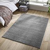 Designer-Teppich Pastell Kollektion | Flauschige Flachflor Teppiche fürs Wohnzimmer, Esszimmer, Schlafzimmer oder Kinderzimmer | Einfarbig, Schadstoffgeprüft (Grau, 80 x 150 cm)