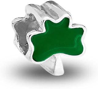 Good Luck Irish Green Shamrock Celtic Knot Leaf Clover Dangle Bead Charm For Women For Teen Oxidized 925 Sterling Silver