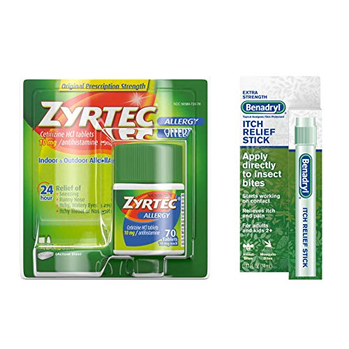 Zyrtec Zyrtec Allergy Relief Tablets 70 Ct & Benadryl Itch Relief Stick, Bundle Pack, 2 Items, 70 Count (Pack of 12)