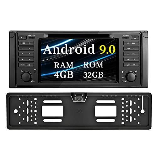 Ohok 7 Zoll Bildschirm 1 Din Autoradio Android 9.0 Pie Octa Core 4G+32G Radio mit Navi Moniceiver DVD GPS Navigation Unterstützt Bluetooth DAB+ für BMW 5 E39 Series/X5 E53 Series mit Rückfahrkamera