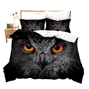 Feelyou Boys Youth Duvet Cover Set Queen for Kids Teens Owl Bedding Set 3D Safari Wildlife Comforter Cover Bird Animal Bedspread Cover Personalized Nighthawk Quilt Cover Decor Bed Cover
