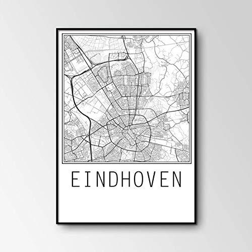 MXIBUN Poster Und HD Drucke Eindhoven Stadtplan Wandkunst Bilder Leinwand Malerei Geschenk Wohnkultur Ohne Rahmen 42 * 60 cm