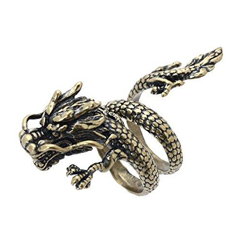 SODIAL - Anillo de aleación de bronce con forma de espiral abierta y diseño de dragón chino, para hombre