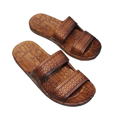 IMPERIAL SANDALS HAWAII Double Strap Jesus Style Hawaii Sandals Size 8 Women /6 Men, Unisex Sandal for Women Men and Teens Brown