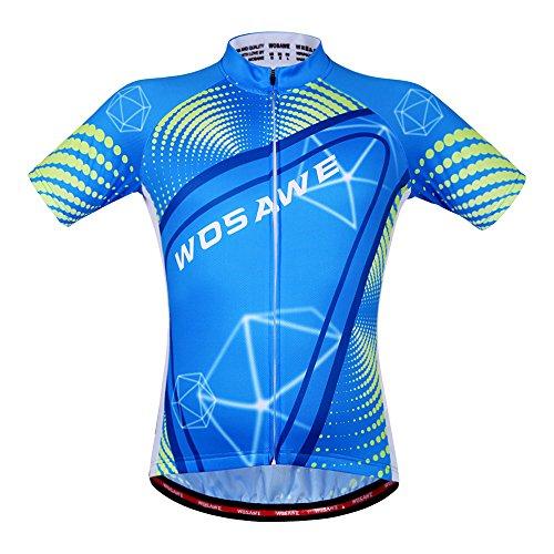 WOSAWE Maillot de ciclismo transpirable para hombre, manga corta (Sky Jersey, M)