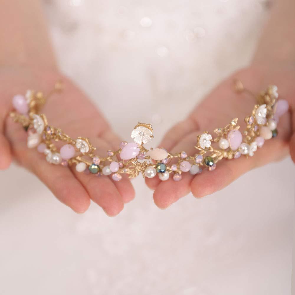 FXmimior Bridal Hair Accessories Choice Gold San Antonio Mall Wedding Bead C Pink Flower