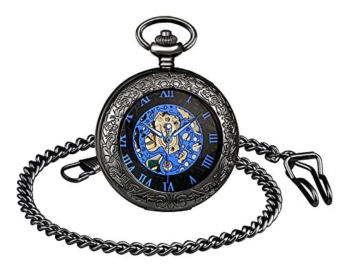 SUPBRO Reloj de bolsillo para hombre y mujer, estilo retro, mecánico, con números romanos, automático, con cadena