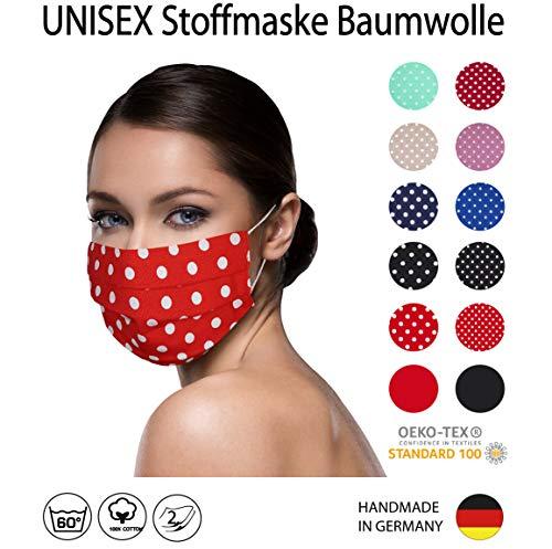 ROT weiß große Punkte Facies gepunktet, unisex, wiederverwendbar 60 Grad waschbar aus Baumwolle 2-lagige Stoff Facies hergestellt in Berlin sofort lieferbar Punkte 7 mm
