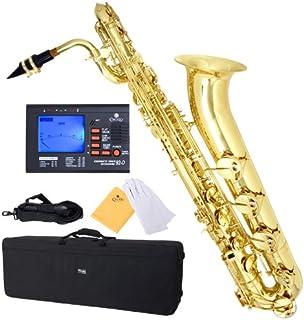 مندینی توسط Cecilio MBS-30L + 92D لاک زرد برنج زرد Intermediate E Flat Baritone Saxophone with Tuner، Case Pro-Deluxe، Mouthpiece و Neck Strap