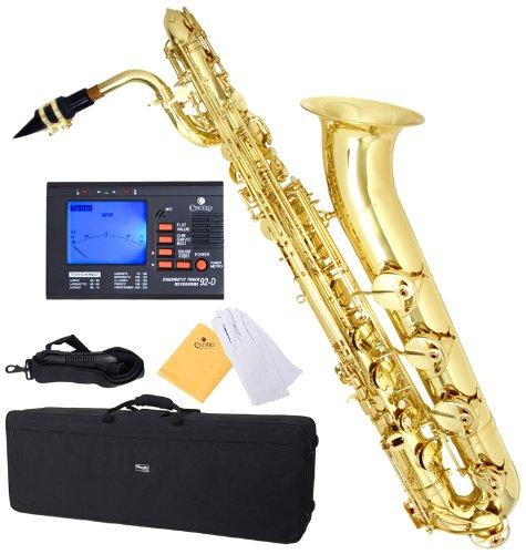 Mendini by Cecilio MBS-30L+92D Lacquer Yellow Brass Intermediate E Flat Baritone Saxophone with Tuner, Pro-Deluxe Case, Mouthpiece and Neck Strap