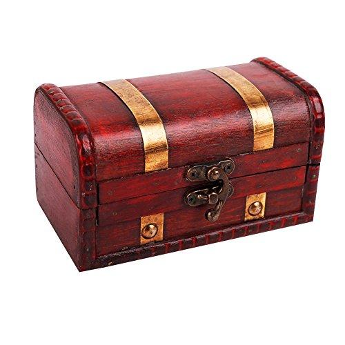 WaaHome Piraten-Schatzkiste, kleine Holz-Schatztruhe für Kinder, als Geschenk, Heimdekoration (14 x 8,1 x 8,1 cm)