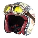 XQY Open Face Motorcycle Helmet, 3/4 Half Helmet Retro Helmet with Goggles,Biker Cruiser Scooter Classic Chopper Moped Jet Helmets DOT Approved,Yellow,L