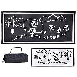 small Stylish Camp RH8181 Black / White 8'x 18'RV Home Rug