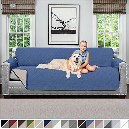 Sofa Shield Original Patent Pending Reversible X-Large Oversized Sofa Protector for Seat Width to 78 Inch, Furniture Slipcover, 2 Inch Strap, Couch Slip Cover Throw for Pet Dogs, Sofa, Denim Lt Taupe