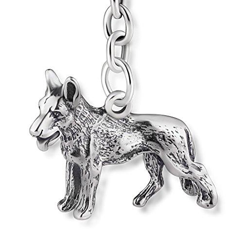 STERLL Llavero para hombre Perro, de plata 925 oxidada, ideal como regalo...