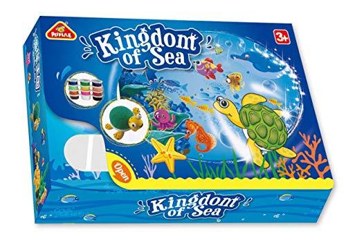 Leo & Emma Polymer Clay, Knete Set, lufttrocknende Modelliermasse, Bastel Set, Kinderknete (Kingdom of Sea)