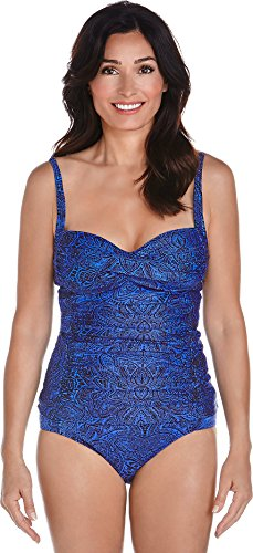 Coolibar Femme Top Tankini Protection UV 50 + Bleu Blau Floral Motif, 38