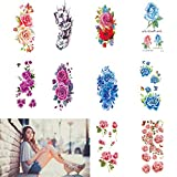 Flowers Temporary Tattoos Stickers, Rose Temporary Tattoos For Women - Fake Body Tattoo Stickers For Girls, Tattoo Transfer Paper 10 Sheets