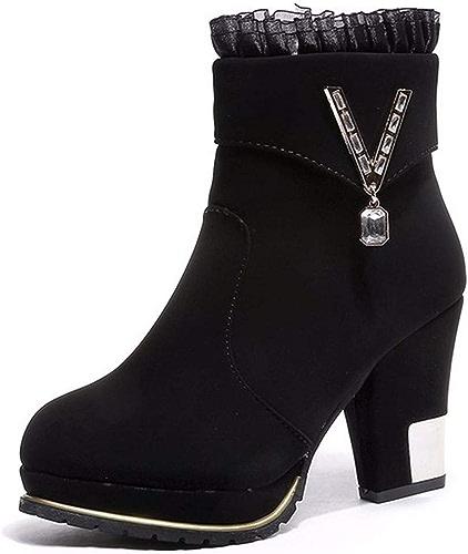 HBDLH Chaussures pour Femmes Le Cachemire Le Coton De Chaussures La Hauteur du Talon De 7 Cm D'épaisseur Au Pied Martin Bottes Bottines