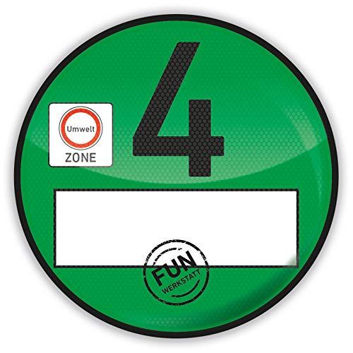 Treuekarten Haftfolie Euro 4 Plakette grün Umweltplakette Feinstaubplakette Spassplakette