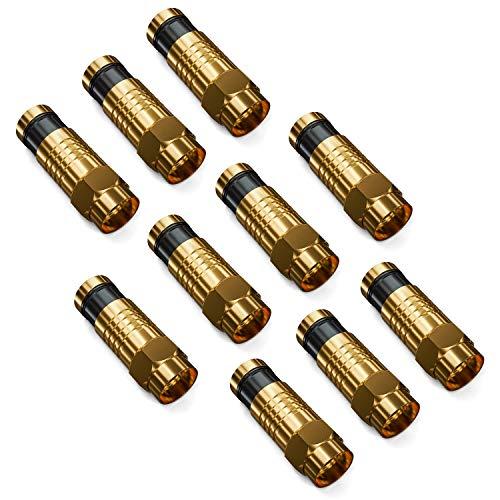 deleyCON 10x F Kompressionsstecker 7,2mm F-Stecker für Koaxialkabel SAT TV Kabel Pressstecker Hohe Rückflussdämpfung Robuste Ausführung vergoldet