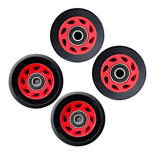 T TOOYFUL 4 Pack 58mm x 32mm Kugellager Rillenkugellager Miniatur Rollenlager Ersatz Doppel Reihe Roller Skating Zubehör für Skateboard, Roller, Inline Skates - Schwarz Rot