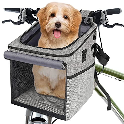 Abrimelodi Dog Bike Basket Carrier, Collapsible Soft-Sided Dog Carrier, Dog Bike Carrier Backpack with Reflective Tape, Breathable Mesh Window, Pet Bicycle Carrier for Small Medium Dogs Cats, Gray