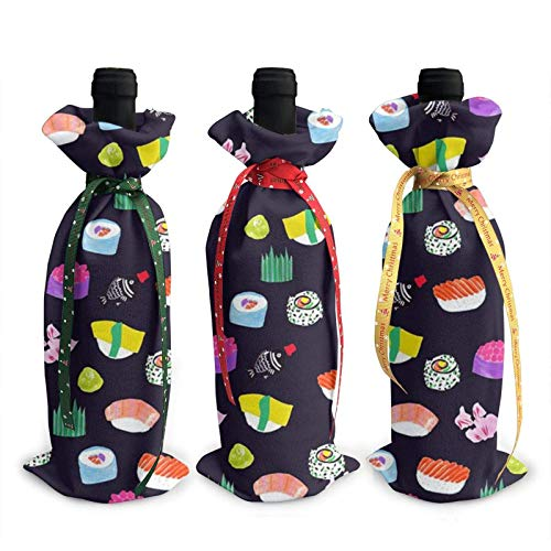 3pcs Wine Bottle Bags,Anime Sushi Christmas Tote Bag for Wedding, Party Favors, Christmas, Holiday and Wine Party Supplies