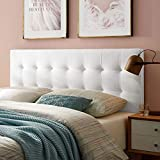 Modway Lily Biscuit Tufted Twin Performance Velvet Headboard, White