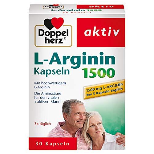 Doppelherz L-Arginin Kapseln 1500 – Nahrungsergänzungsmittel mit der hochwertigen Aminosäure L-Arginin – 1 x 30 Kapseln