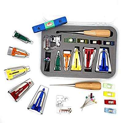 Caravan STASH 5 Size DIY Single/Double Bias Tape Maker Tool Kit Set; 6mm,9mm,12mm,18mm,25mm; Metric/Imperial Tape Measure, Binder Foot, Clips, Awl, Pins
