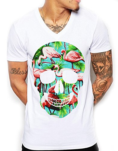 Inct Men's Flamingo T-Shirt, Skull T-Shirt - V-Neck T-Shirt, White Summer Mens Shirt, Skull T-Shirt