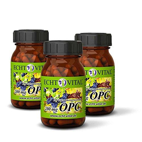 ECHT VITAL OPC Traubenkernextrakt | OPC Qualität aus Frankreich | 180 Kapseln OPC - 3 Gläser | 100% natürliches OPC | 200 mg reines OPC je Kapsel geprüft nach HPLC | Deutsche Markenqualität | Vegan