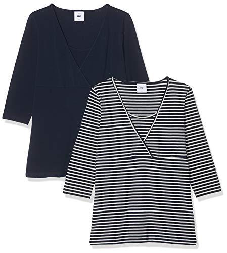 MAMALICIOUS Damen Mllea Org Tess 3/4 Mix Top Nf 2Pack A. O Umstandslangarmshirt, Blau (Navy Blazer Pack: Y/D Navy Blazer W/Snow White), Medium (Herstellergröße: M) (2er