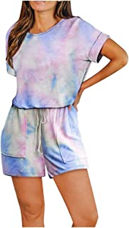 Zrom Women Jumpsuits Summer Fashion,Womens Short Sleeve Tie-Dye Jumpsuit Loungewear One Piece Loose Pockets Romper