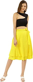 BESIVA Women's Yellow Wrap Skirt