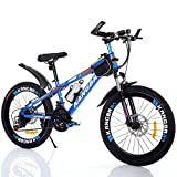 LYzpf Bicicleta de Montaña MTB 26 Pulgadas 21 Velocidades Aleación Marco Más Fuerte Freno Disco para Hombre Adulto Mujer Estudiante,Blue,22inch