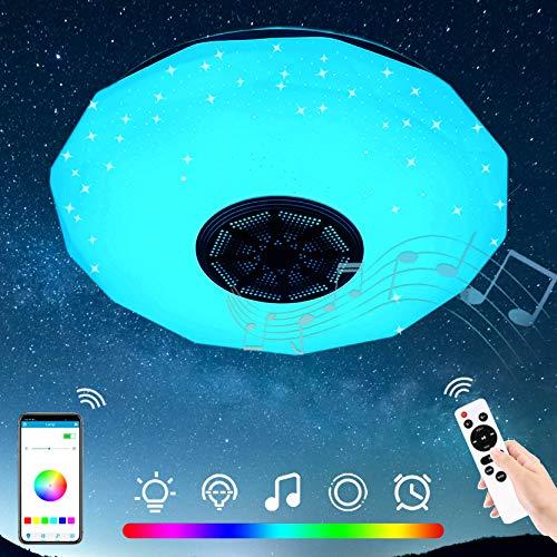 Vingtank - Plafón LED redondo de 36 W, moderno, lámpara de techo Bluetooth con altavoz, APP y mando a distancia, salón, dormitorio, pasillo, hotel, restaurante, luces decorativas, diámetro 29 cm