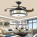 Qinmo Luces de techo ventilador de techo, luces invisibles ventilador en la sala de estar, de 42 pulgadas montado en la pared Luces de ventilador en el comedor, y el paño de los ventiladores del dormi