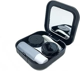 Actopus Portable Cute Travel Contact Lens Case Eye Kit Holder Mirror Box Black