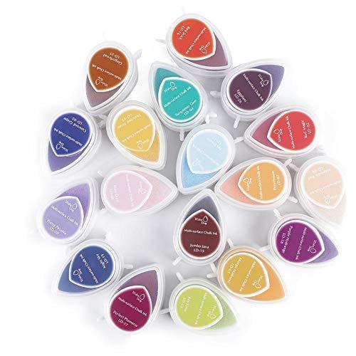 Pack de 40 sellos de almohadillas de tinta para manualidades Cojín de estampado para manualidades multicolor DIY para niños Dibujo con huellas dactilares, papel, tela de madera y scrapbooking
