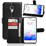 Apanphy Funda Meizu M3 Note, Tapa de Cuero de La PU Case de la Cartera con Ranuras para Tarjetas Incorporadas Flip Cover para Meizu M3 Note Smartphone Case - Negro