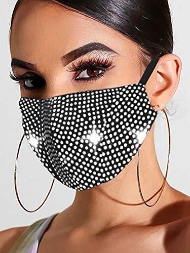 Handcess Máscara de Malla de Cristal Brillante con Purpurina y Diamantes de imitación para Baile de máscaras, máscaras faciales para Discoteca, Accesorio de Disfraz de Genio de Halloween (Plata)