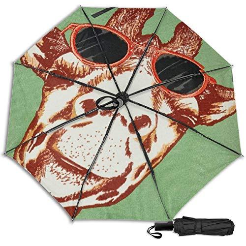 Funy jirafa con gafas de solfashion Manual vinilo triple paraguas protector solar protección UV paraguas paraguas de viaje