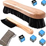 Alikeke Nylon Bristle Under Rail Wooden Pool Table Brush Rail Brush with Billiard Cue Shaft Slicker Snooker Cloth Cleaner and Box of 6 Cubes of Pool Cue Chalk, Billiard Accessories