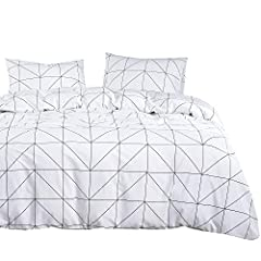 【Design】White with black geometric modern pattern printed. Simple modern gift for teens, boys, girls, men or women. 【Set】1 comforter 90x90 inches (queen size), 2 pillow cases 20x26 inches. 【Material】100% cotton outer fabric with ultra soft microfiber...