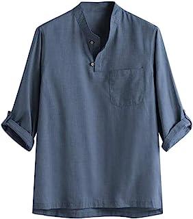 花千束 七分袖 リネンシャツ メンズ tシャツ ヘンリーネック シンプル 胸ポケット 柔らかい 無地 トップス 春夏秋 快適 大きいサイズ カットソー カジュアルシャツ
