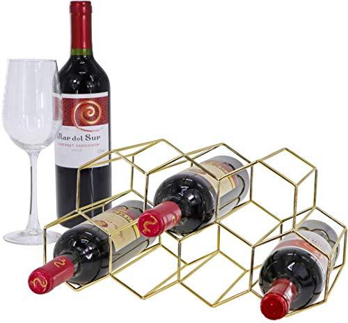 Mazu Homee Botellero de metal con estructura de nido de abeja para 9 botellas de vino tinto sin montaje