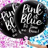 Gender Reveal Balloons with Confetti, 2 Pack, Black Gender Reveal Balloon Kit, Gender Reveal Party Balloons, Giant Black XL Confetti Balloons, Perfect for Twins Gender Reveal