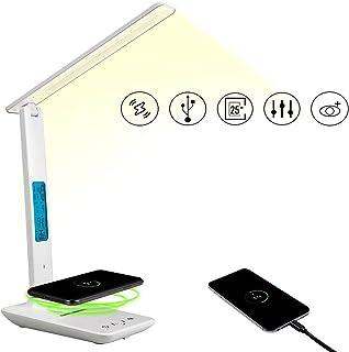デスクライト 目の保護 3種類色 5段階調光 LED電気スタンド ワイヤレス充電 USBポート 液晶ディスプレイ アラーム 折り畳み式 タッチセンサー 読書 勉強 仕事 供電式 (ホワイト)